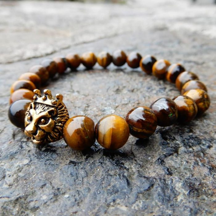 bracelet with yellow tiger eye beads and metallic lion head