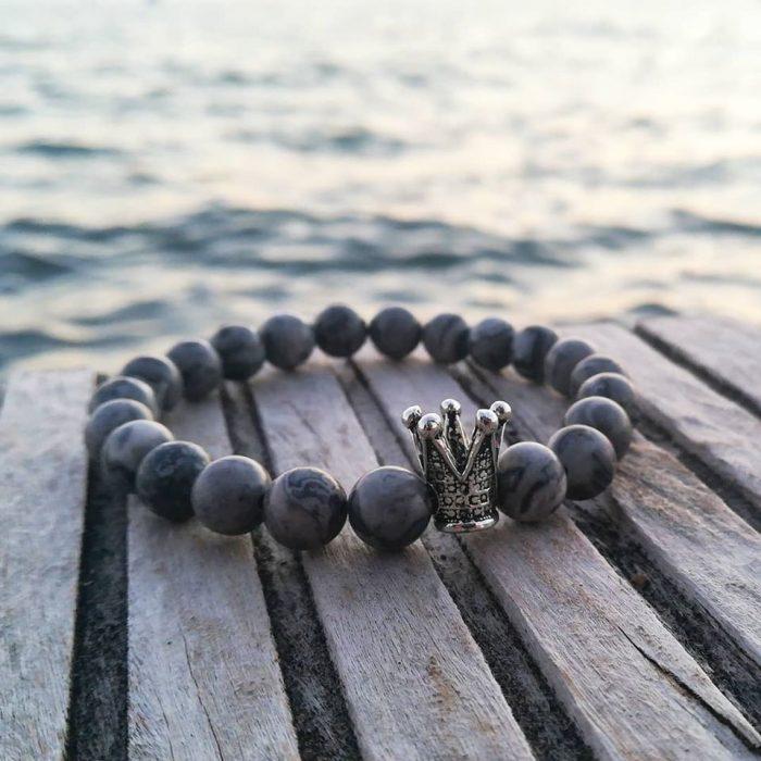 bracelet with grey jasper beads and metallic crown