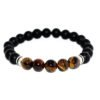 bracelet with onyx beads, yellow tiger eye and metallic elements