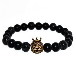 bracelet with onyx, lava beads and stainless steel lion head
