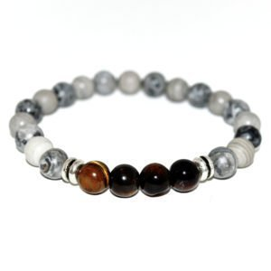 bracelet with grey jasper beads, yellow tiger eye and metallic elements