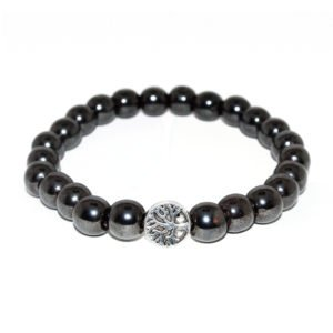 bracelet with hematite beads and metallic element