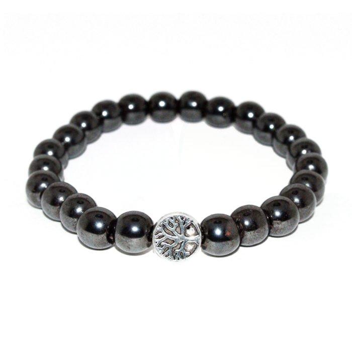 bracelet with hematite beads and metallic element