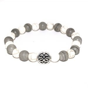 unisex bracelet with grey jasper and white howlite beads