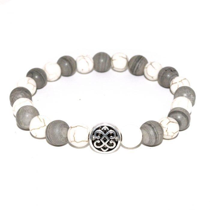 unisex bracelet with grey jasper and white howlite