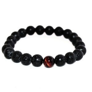 bracelet with lava and red tiger eye beads