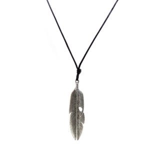 black snake cord necklace with metallic feather