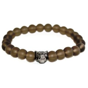 bracelet with matte glass beads and metallic panther