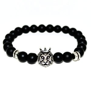 bracelet with onyx beads, tiger head and metallic elements