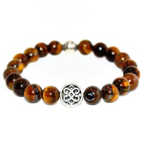 bracelet with yellow tiger eye and metallic element
