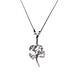 black snake cord necklace with metallic tree of life