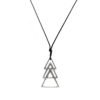 black snake cord necklace with metallic triangles