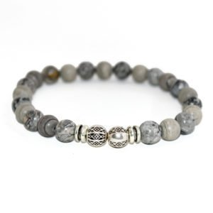 bracelet with jasper beads and metallic elements