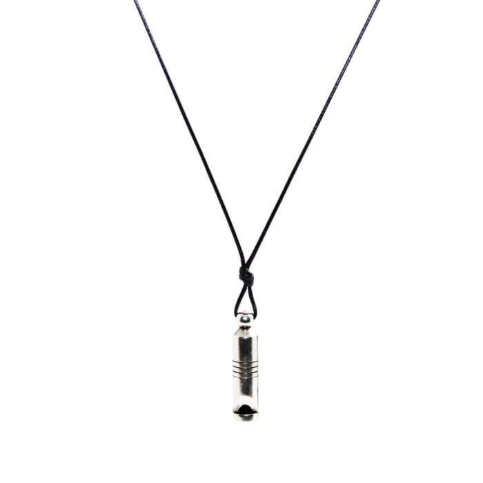 black snake cord necklace with metallic whistle