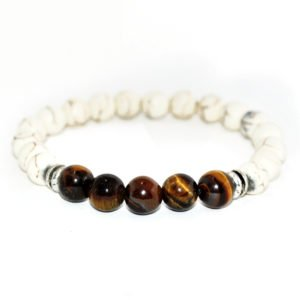 bracelet with white howlite, black yellow tiger eye beads and metallic elements