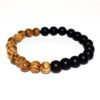 bracelet with onyx and oak wood beads