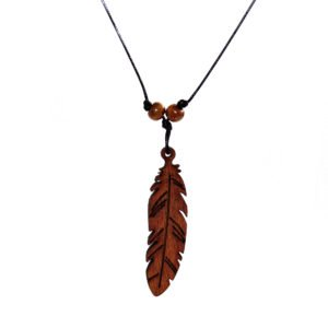 black snake cord necklace with wooden leaf and beads
