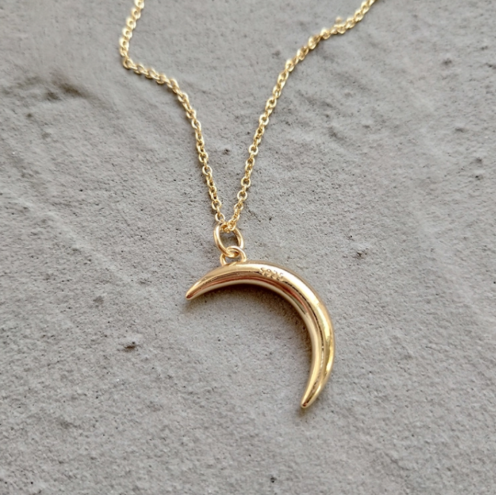 WOMAN'S GOLD SILVER MOON NECKLACE