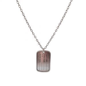 chain necklace with army tag