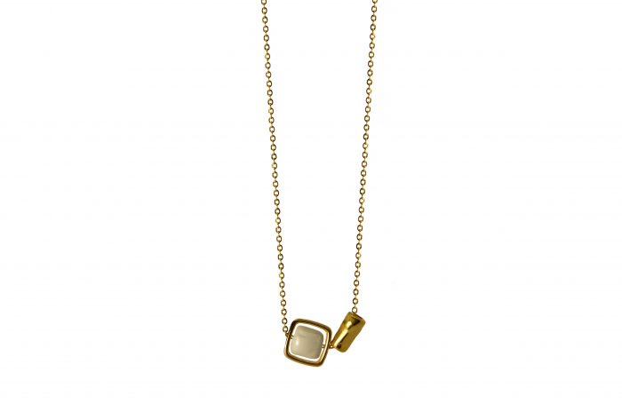 necklace with white ceramic cube