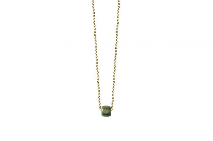 gold necklace with brown green ceramic cube