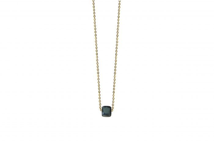 gold necklace with petrol ceramic cube