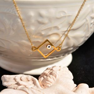 Yellow gold square necklace