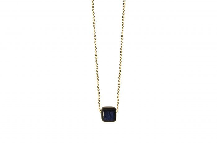 necklace with blue ceramic cube