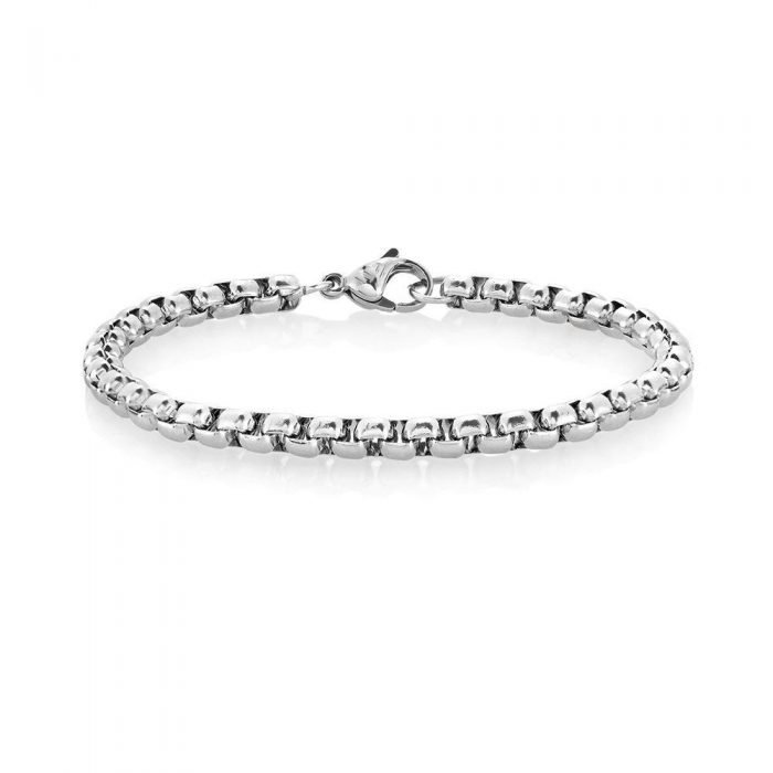 Round Box Chain Silver Bracelet 4mm