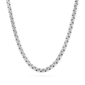 Round Box Chain Silver necklace