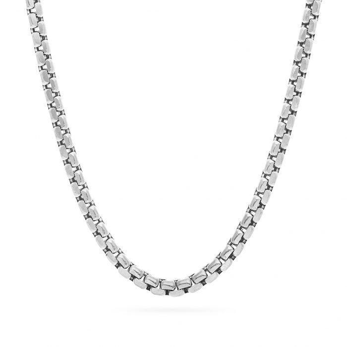 Round Box Chain Silver necklace