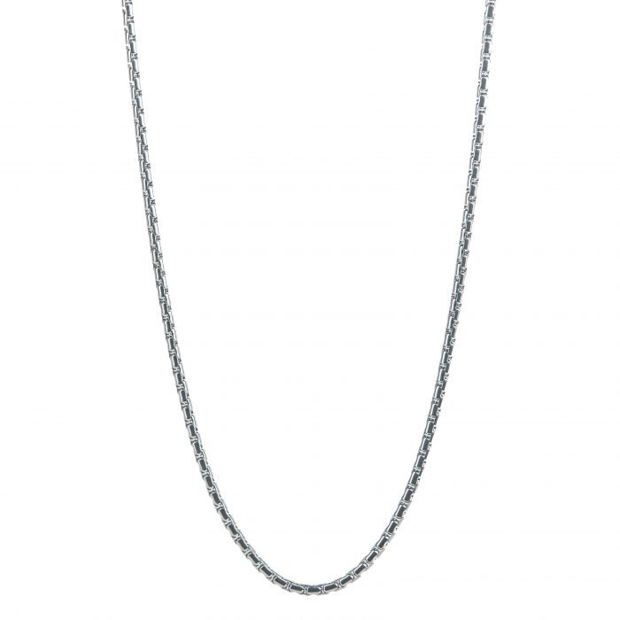 Round Box Silver Necklace