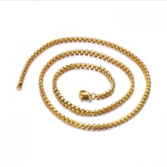 Round Box gold necklace 4mm