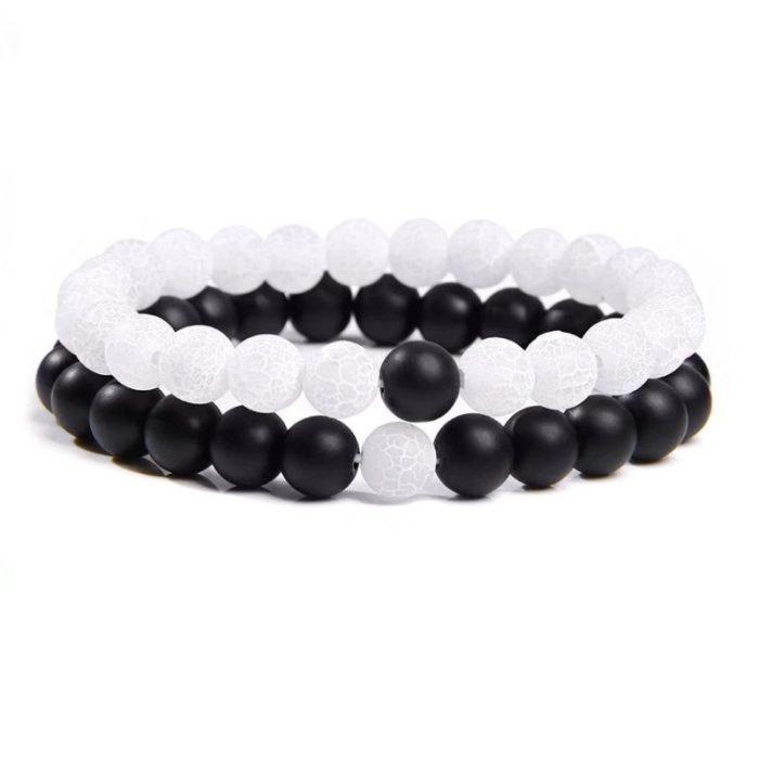 White agate couple bracelet