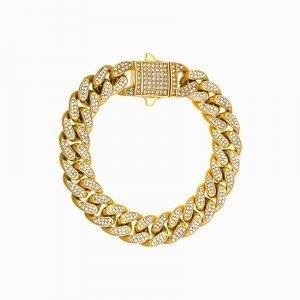 ICED OUT CUBAN BRACELET – GOLD