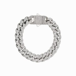 ICED OUT CUBAN BRACELET – SILVER