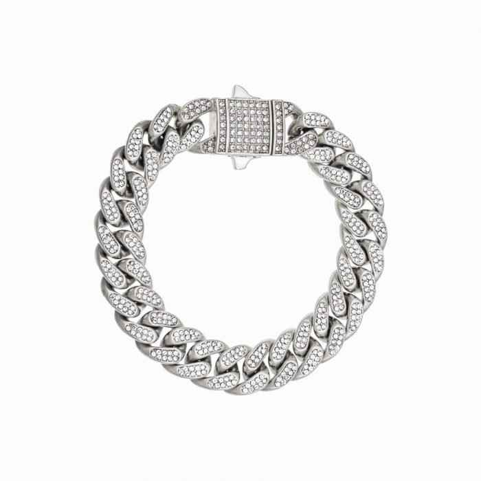 ICED OUT CUBAN BRACELET - SILVER